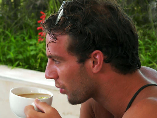 max sipping a cup of tea