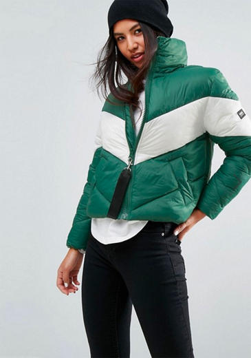 Puffa Oversized Jacket With Constrast Chevron Panel - £100 from ASOS.