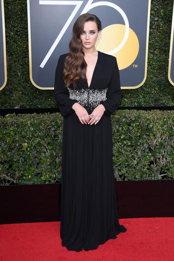 Katharine Langford from 13 Reasons Why at the 2018 Golden Globes.