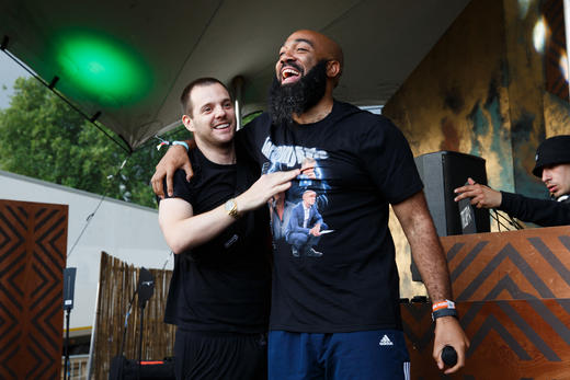 Mike Skinner and Murkage performing at Lovebox 2018.