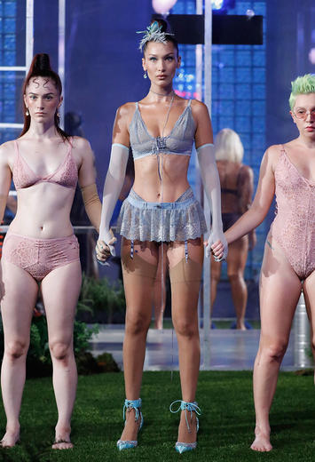 Models on the runway at Rihanna's Savage x Fenty FW18 lingerie show at NYFW SS19