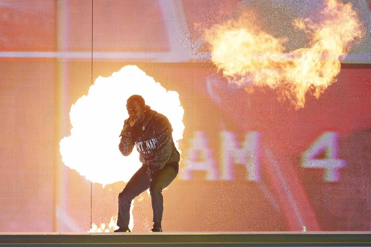 Kendrick Lamar peforms at The BRIT Awards 2018 held at The O2 Arena on February 21, 2018 in London, England.