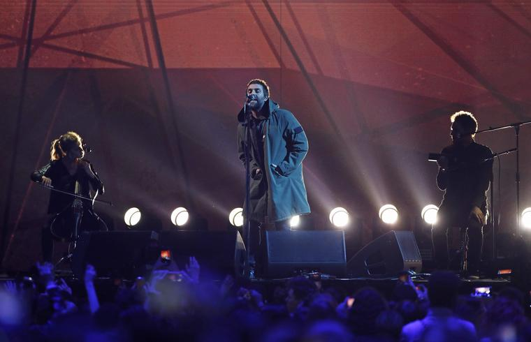 Liam Gallagher performs 'Live Forever' at the 2018 BRIT Awards ceremony in London, February 2018