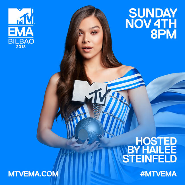 Hailee Steinfeld hosts the 2018 MTV EMA live from Bilbao, Spain on Sunday 4th November!