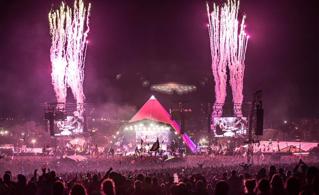 The Pyramid Stage at night during Glastonbury Festival 2017