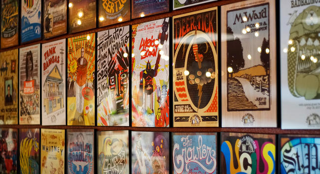 The Wall of Band Posters At The Lagunitas Brewery, California