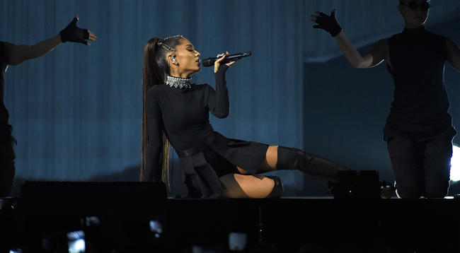 Ariana Grande performing on the Dangerous Woman Tour in 2017