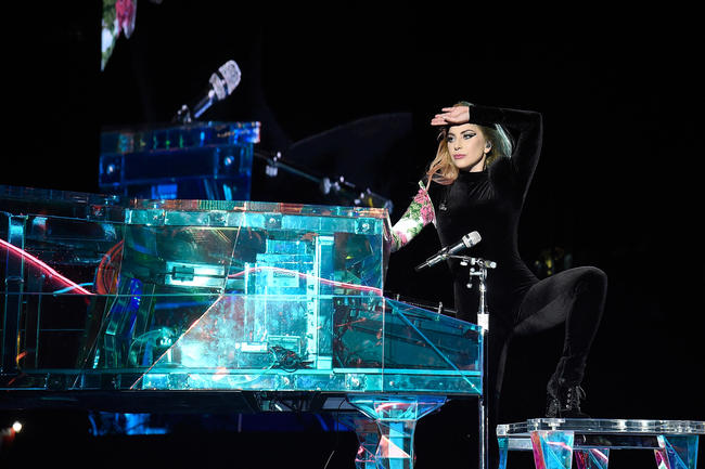 Lady Gaga performs on the Joanne World Tour in 2017