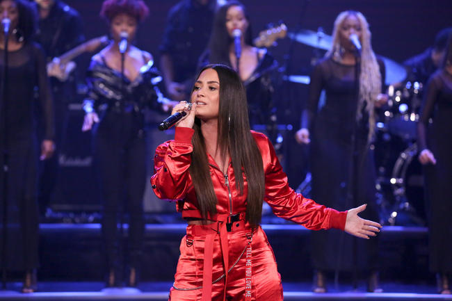 Demi Lovato performing on The Tonight Show
