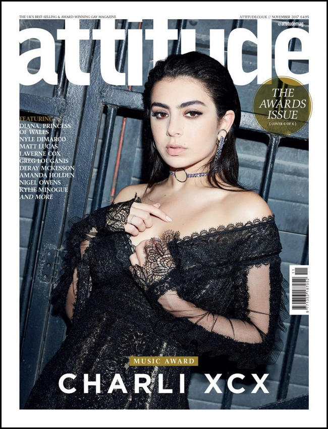 Charli XCX on the cover of Attitude's Awards Issue as the 2017 recipient of the Music Award