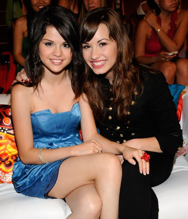 Actress Selena Gomez and singer Demi Lovato during the 2008 Teen Choice Awards at Gibson Amphitheater on August 3, 2008 in Los Angeles, California