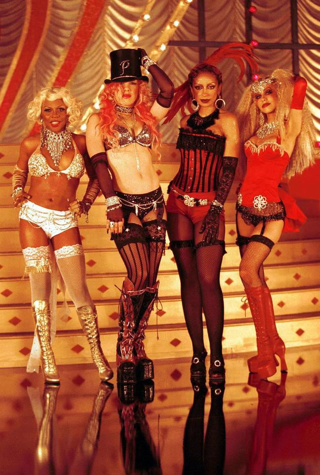 P!nk, Christina Aguilera, Mya and Lil' Kim on set of the 'Lady Marmalade' video in 2001