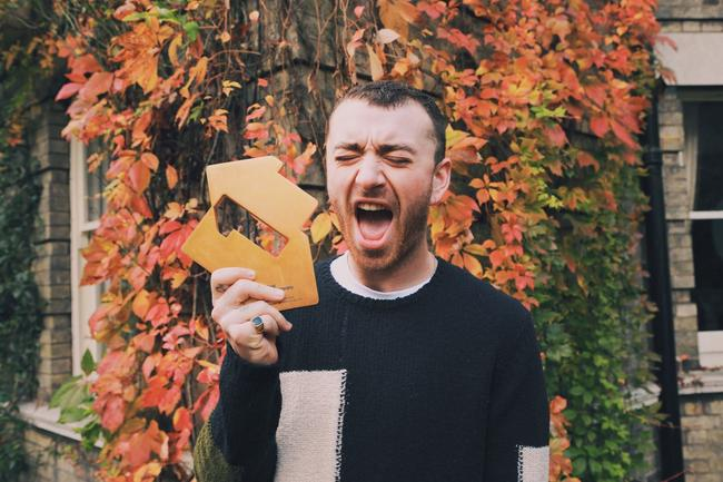 Sam Smith celebrating his second album 'The Thrill Of It All' hitting Number 1 on the Official Albums Chart