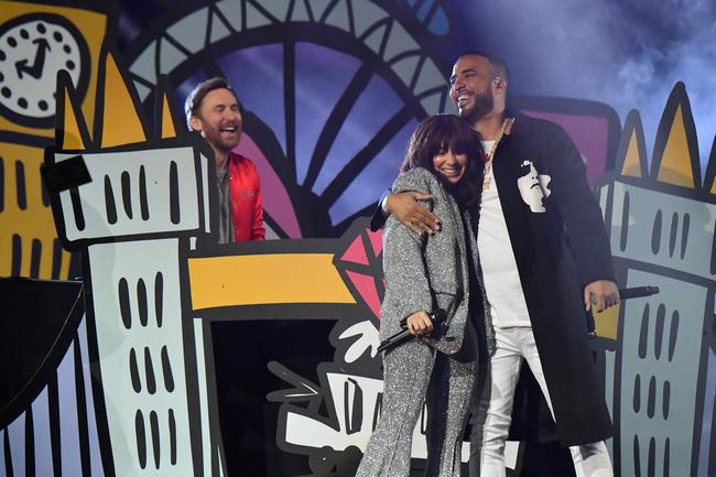 Charli XCX and French Montana perform with David Guetta at the 2017 MTV Europe Music Awards in November 2017