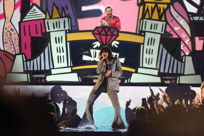 Charli XCX performs on stage with David Guetta and French Montana during the MTV EMAs 2017 held at The SSE Arena, Wembley on November 12, 2017 in London, England