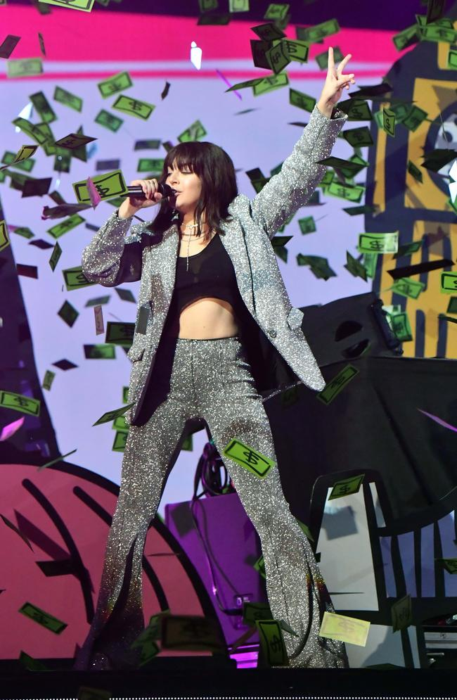 Charli XCX performing with David Guetta and French Montana at the 2017 MTV Europe Music Awards in London