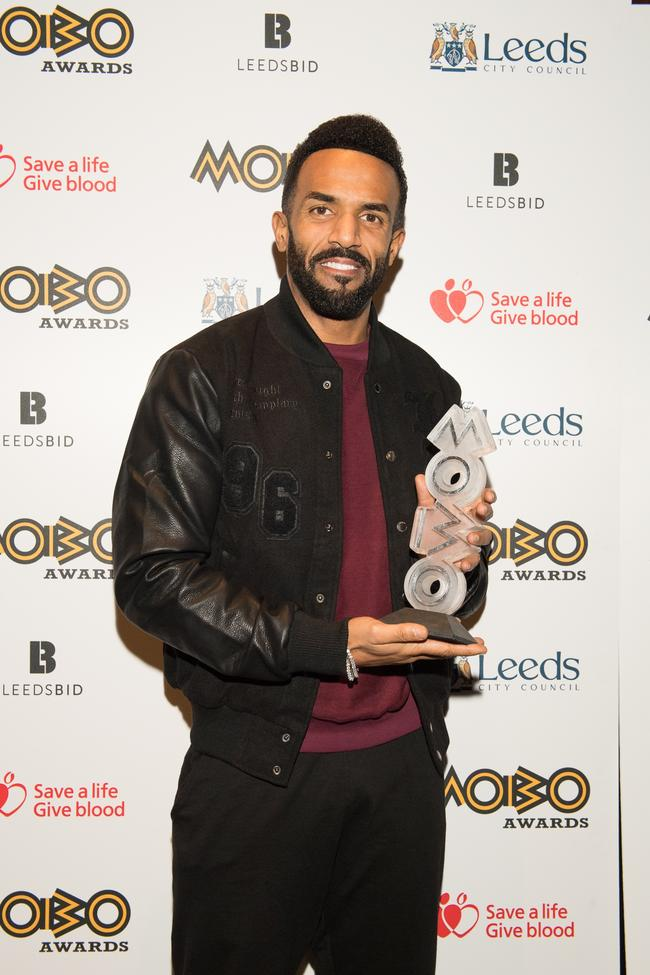 Craig David wins MOBO Award for Best R&B/Soul at the Pre-MOBO Awards Show in November 2017