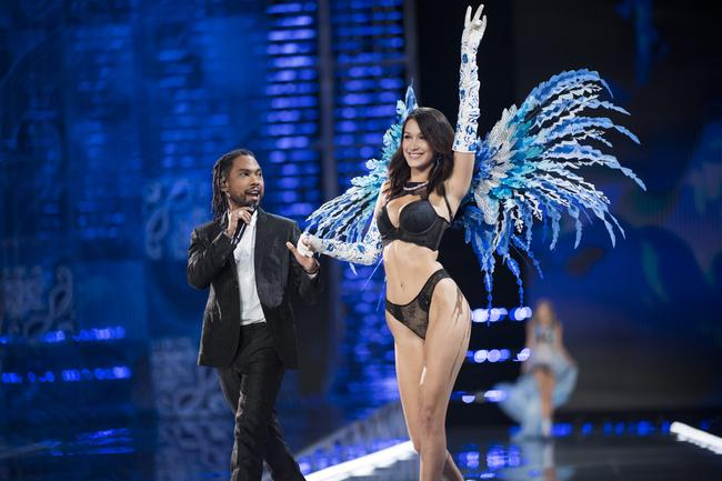 Miguel performs on the catwalk alongside model Bella Hadid at the 2017 Victoria's Secret Fashion Show in Shanghai