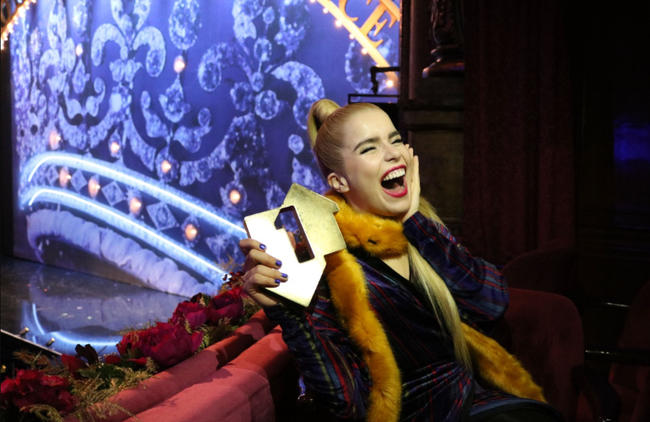Paloma Faith is presented with her Official Number 1 Album Award