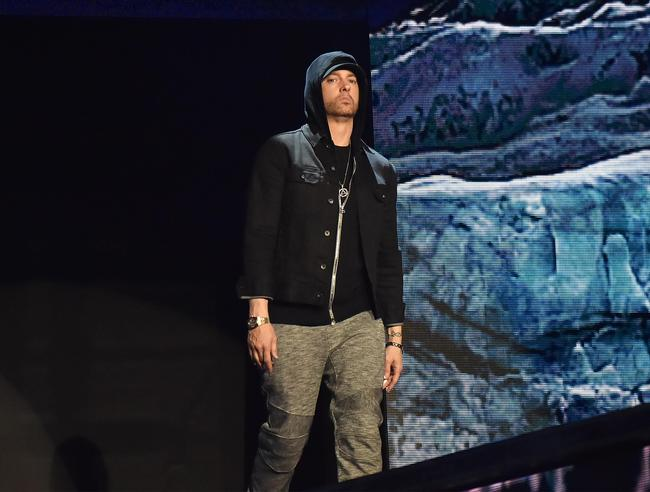 Eminem performing at the 2017 MTV Europe Music Awards in London, England in November 2017