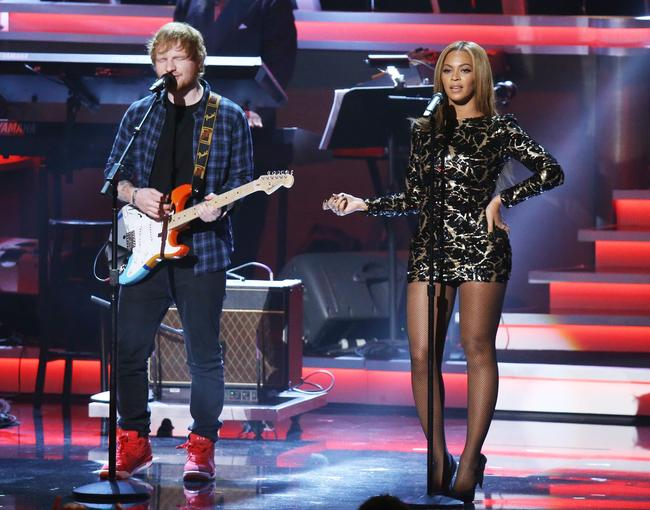 Ed Sheeran and Beyoncé performing together