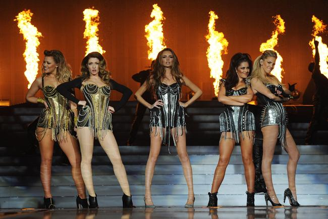 Kimberley Walsh, Nicola Roberts, Nadine Coyle, Cheryl Cole and Sarah Harding of Girls Aloud perform on their 'Ten - The Hits Tour' at The O2 Arena on March 1, 2013 in London, England