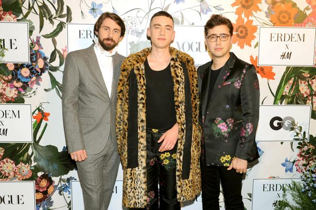 Mikey Goldsworthy, Olly Alexander, and Emre Turkmen of Years & Years attend the ERDEM X H&M Exclusive Event at H&M Flagship Fifth Avenue Store on October 24, 2017 in New York City