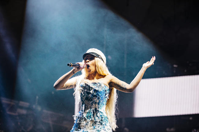 Cardi B performing at Spotify's Who We Be concert in November 2017
