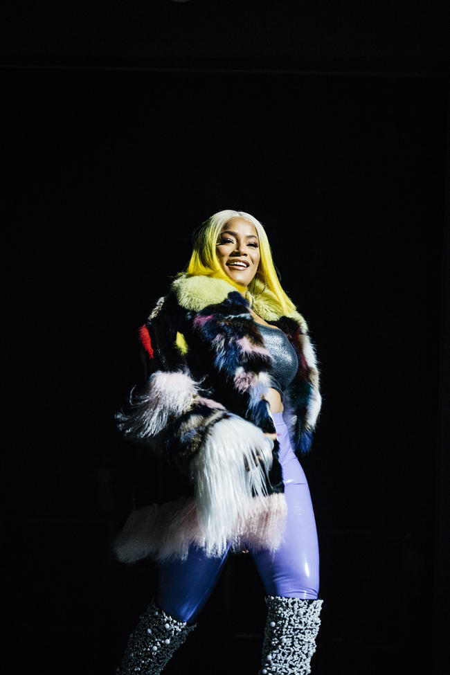 Stefflon Don performing at Spotify's Who We Be concert in November 2017