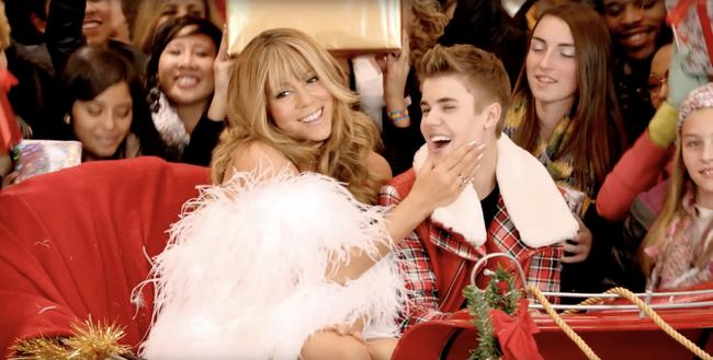 Mariah Carey and Justin Bieber in the music video for their duet 'All I Want for Christmas Is You (SuperFestive!)'