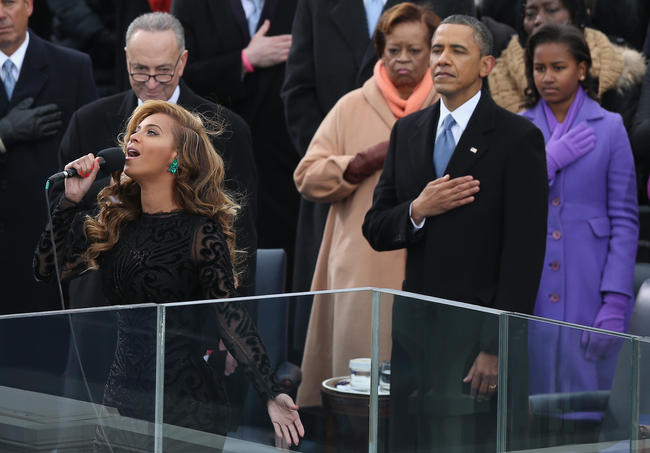 Singer Beyonce performs the National Anthem during the public ceremonial inauguration for U.S. President Barack Obama on the West Front of the U.S. Capitol January 21, 2013 in Washington, DC. Barack Obama was re-elected for a second term as President of the United States
