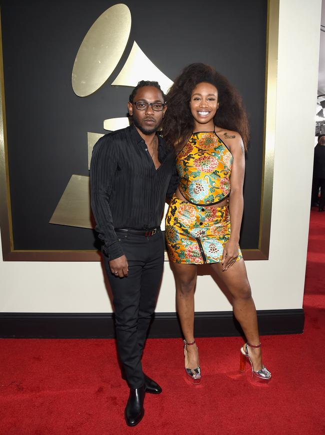 Rapper Kendrick Lamar (L) and SZA attend The 58th GRAMMY Awards at Staples Center on February 15, 2016 in Los Angeles, California