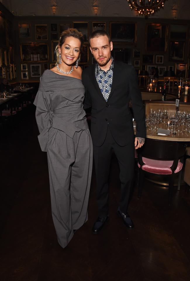 Rita Ora (L) and Liam Payne attend the GQ London Fashion Week Men's 2018 closing dinner hosted by Dylan Jones and Rita Ora at Berners Tavern on January 8, 2018 in London, England