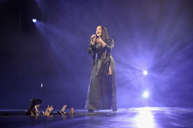 Demi Lovato performs at the 2017 MTV European Music Awards in November 2017