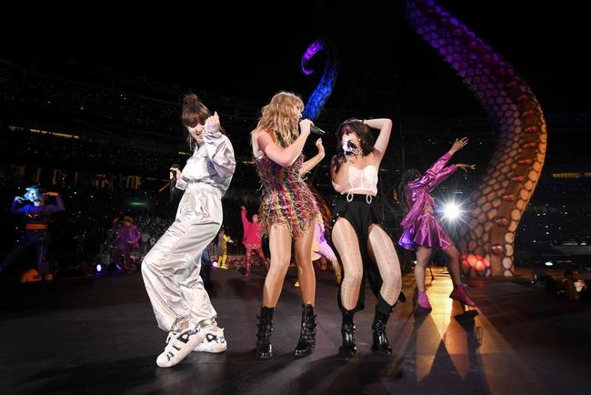 Charli XCX, Taylor Swift, and Camila Cabello perform onstage during Taylor Swift reputation Stadium Tour at Levi's Stadium on May 11, 2018 in Santa Clara, California.