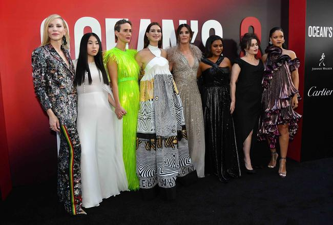 The cast of Ocean's Eight (8) - Sandra Bullock, Rihanna, Anne Hathaway, Cate Blanchette, Sarah Paulson - at the premiere in 2018