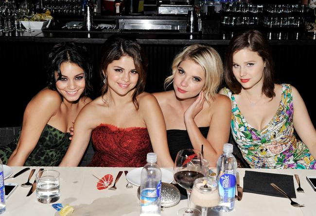 Vanessa Hudgens, Selena Gomez, Ashley Benson and Rachel Korine doing press for Spring Breakers in 2012