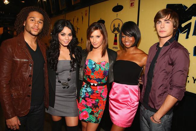The Cast of 'High School Musical 3' - Corbin Bleu, Vanessa Hudgens, Ashley Tisdale, Monique Coleman and Zac Efron visit MTV's 'TRL' at MTV studios in Times Square on October 21, 2008 in New York City