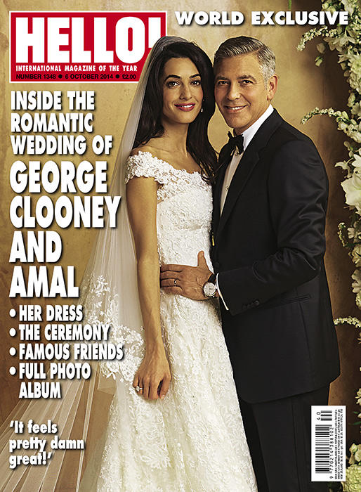 George Clooney and Amal Clooney on their wedding day in 2014, Hello! magazine