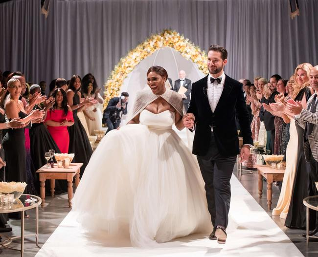 Serena Williams and her Reddit co-founder husband at their wedding day
