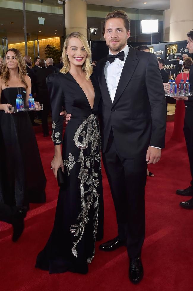 Actor Margot Robbie and producer Tom Ackerley attend The 75th Annual Golden Globe Awards at The Beverly Hilton Hotel on January 7, 2018 in Beverly Hills, California