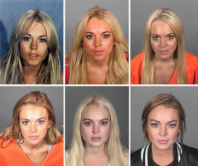 All 6 of Lindsay Lohan's mug shots from between 2007 and 2013
