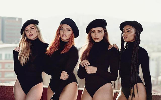 Promotional shot of Little Mix for 2018 single 'Woman Like Me' featuring Nicki Minaj and fifth album LM5