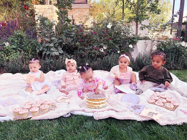 Khloe Kardashian's daughter True celebrates six month birthday with cupcake party with cousins Stormi Webster (Kylie Jenner), Chicago and Saint West (Kim Kardashian and Kanye West), and Dream Kardashian (Rob Kardashian and Blac Chyna)