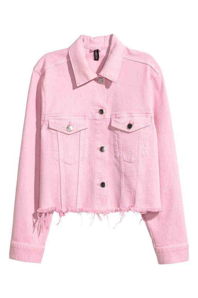 f74d81c6 Switch up your classic denim jacket up for the bubblegum pink shade that  everyone is obsessing over RN.