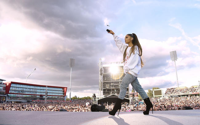 Ariana Grande performs at the One Love Manchester benefit concert in June 2017