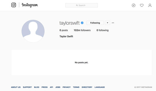 Taylor Swifts Social Media Accounts Are Now Just A Blank Space Mtv Uk