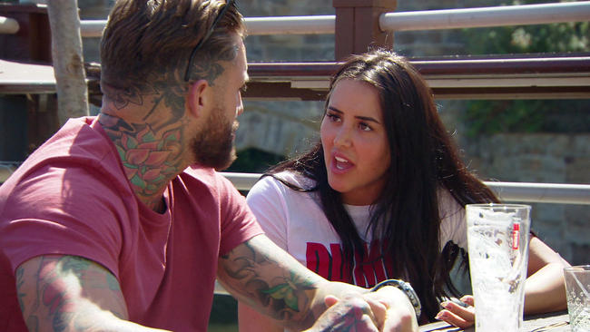 Geordie Shore's Marnie Simpson and Aaron Chalmers kick off as they try to sort their relationship