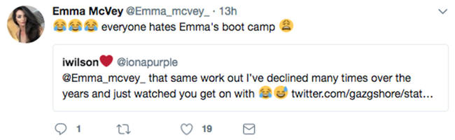 Gaz Beadle attempted Emma McVey's exercise routine to hilarious results.