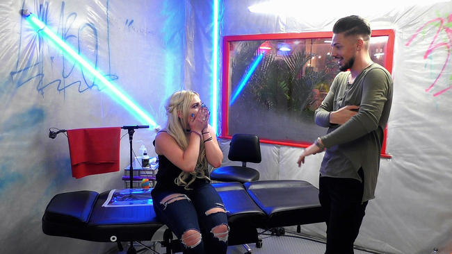 Stephen Bear teases tattooee Beth in the Just Tattoo Of Us studio